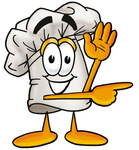 Royalty-free cartoon styled culinary clip art graphic of a white chefs hat cartoon character