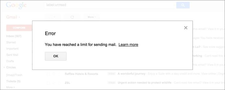 gmail sending limits