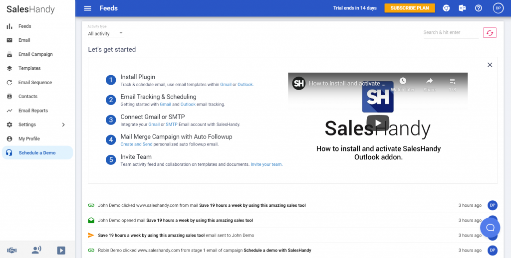 SalesHandy email outreach tool dashboard