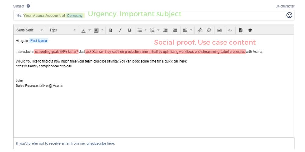 Asana's follow-up email