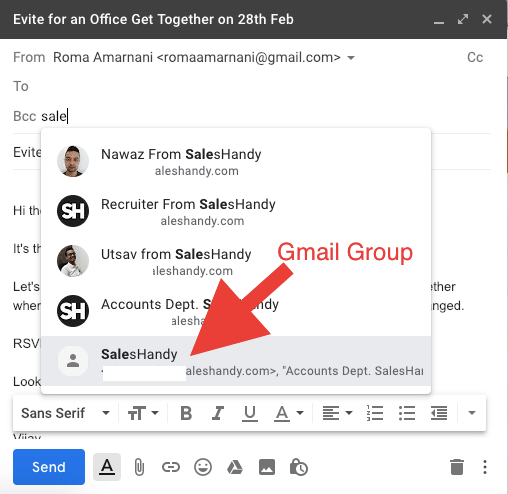 Send group email using Saleshandy