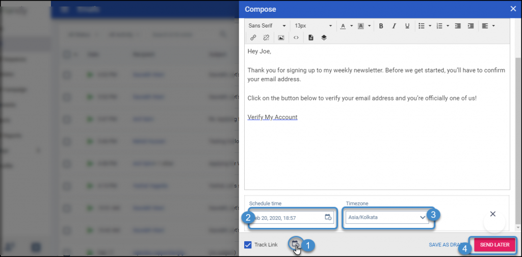 compose email and schedule it