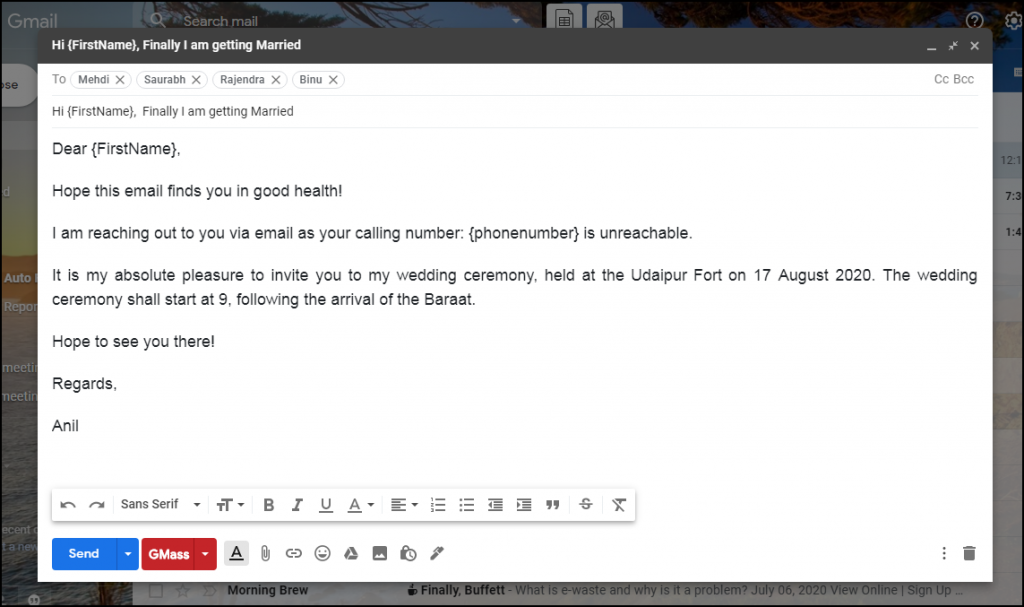 Gmass Email campaign editor