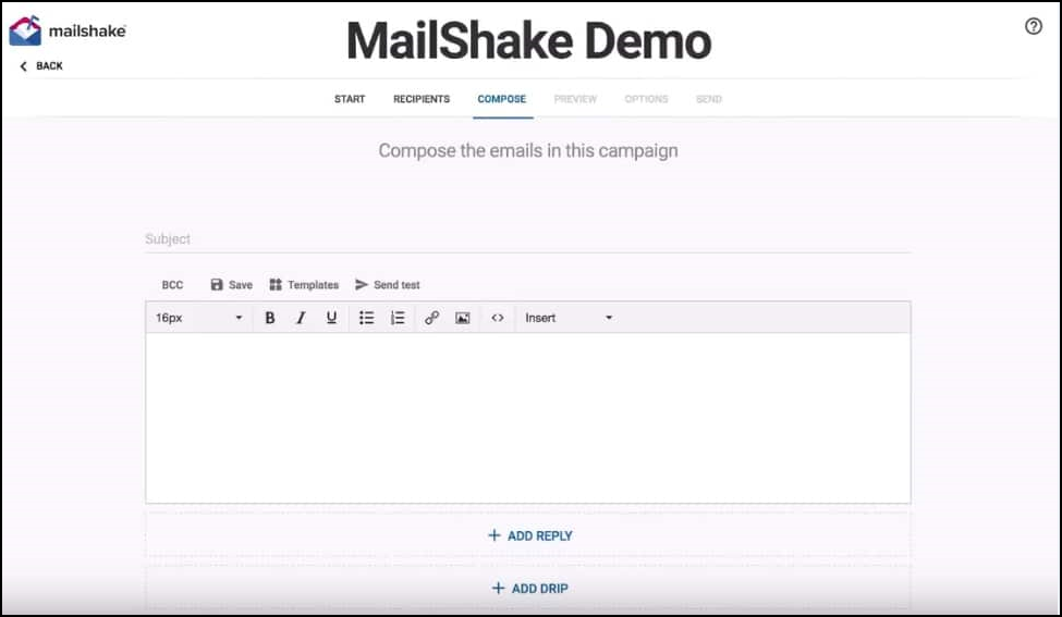 Mailshake Email campaign editor