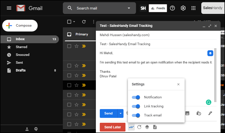 SalesHandy Email tracking plugin in Gmail Dashboard