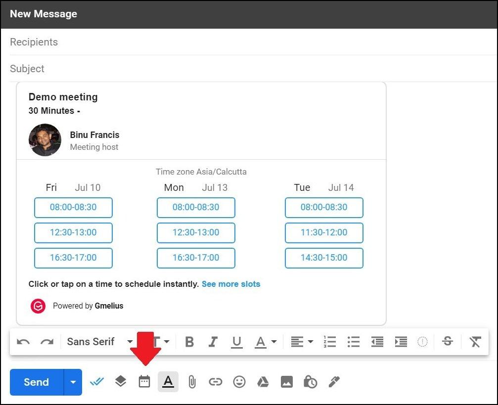 Gmelius meeting scheduler