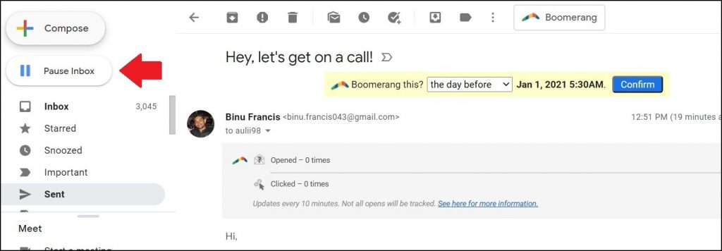 Boomerang pause inbox feature