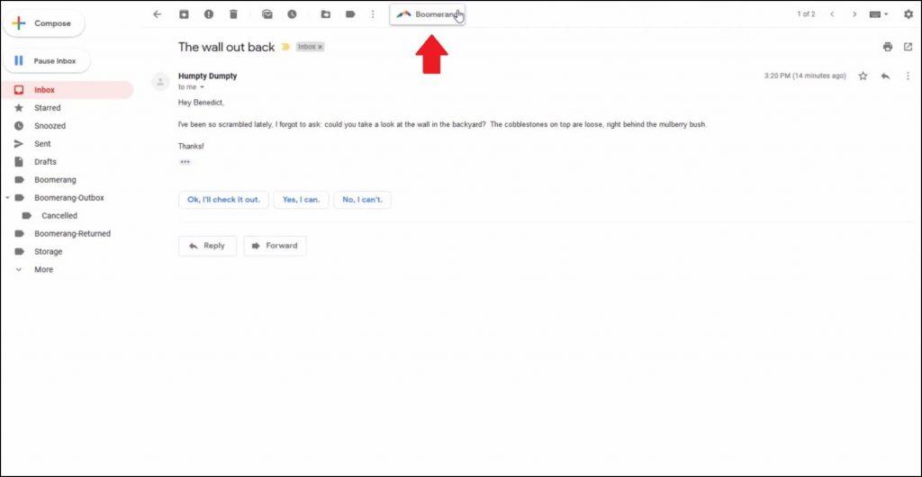 Boomerang gmail snooze