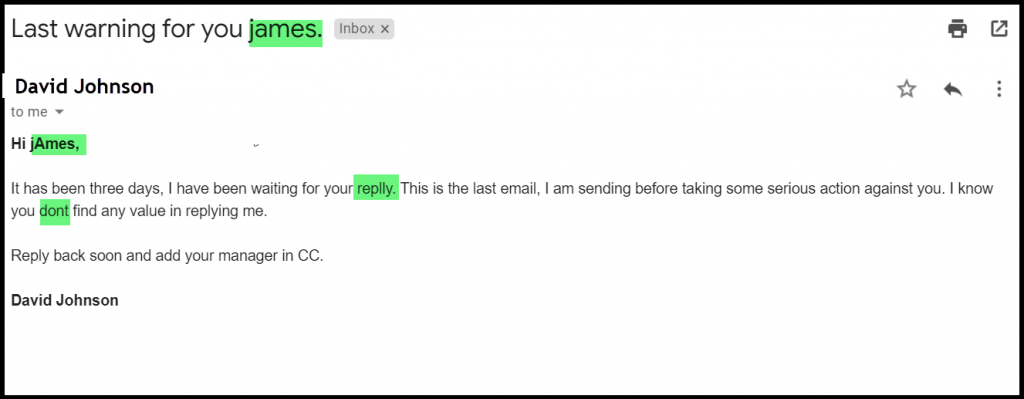 improper formatting and grammatical errors in a reminder email example