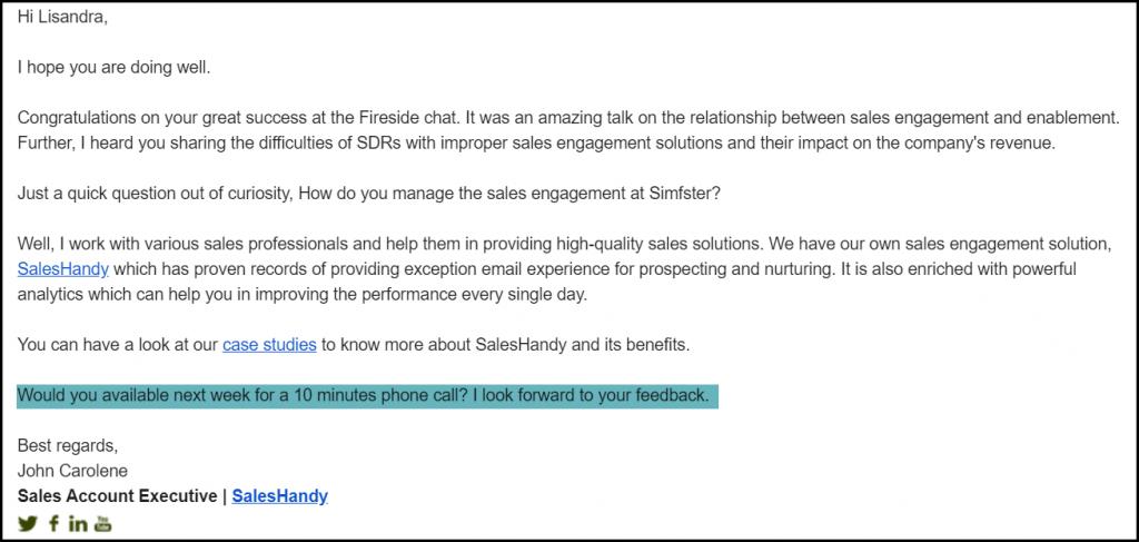 basho email CTA example