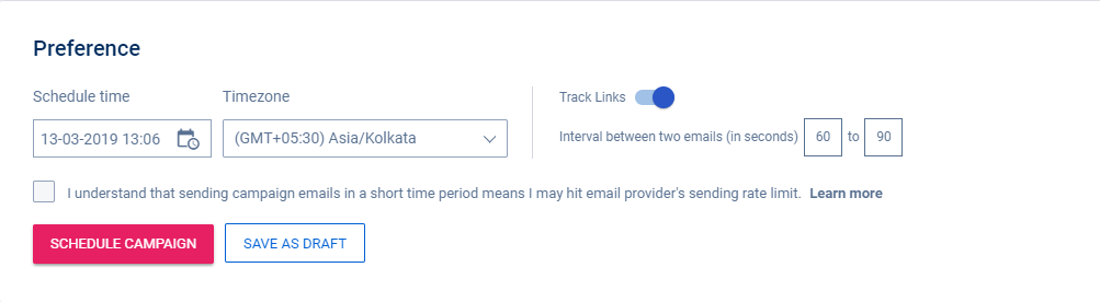 add the preferences and schedule your email