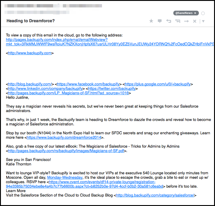 email newsletter from gmail without HTML example