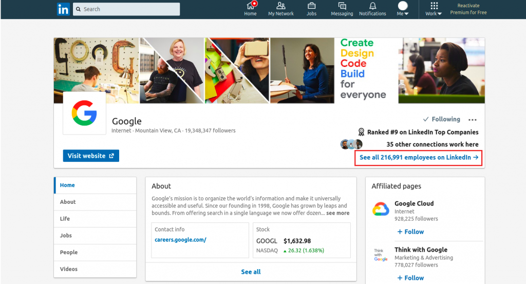 LinkedIn prospecting company page