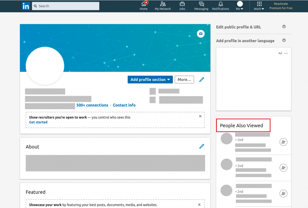 LinkedIn profile recommendation