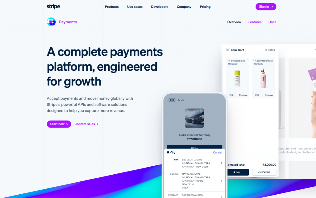 stripe b2b lead generation product page