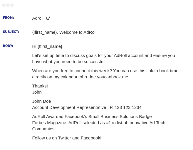 adroll email sequence 1