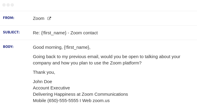 zoom email sequence 2