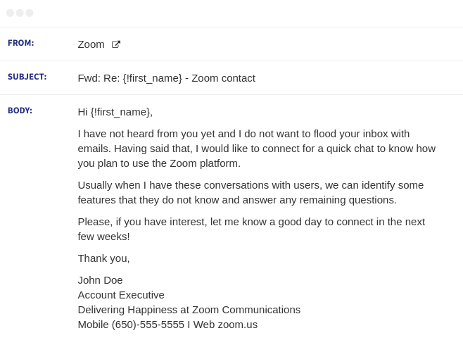 zoom email sequence 3