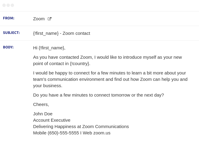 zoom email sequence 1