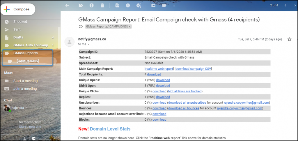 Gmass campaign report vs Mailchimp