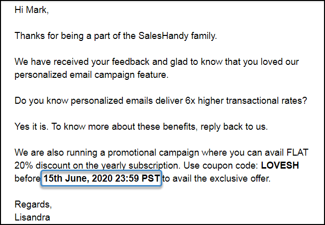how to add a due date in sales email example