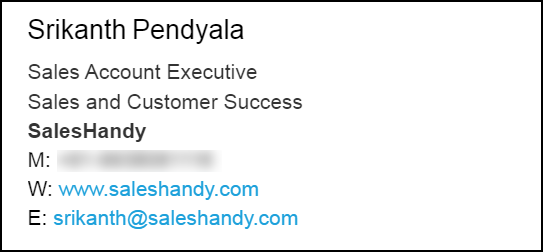 email signature sample of a sales professional