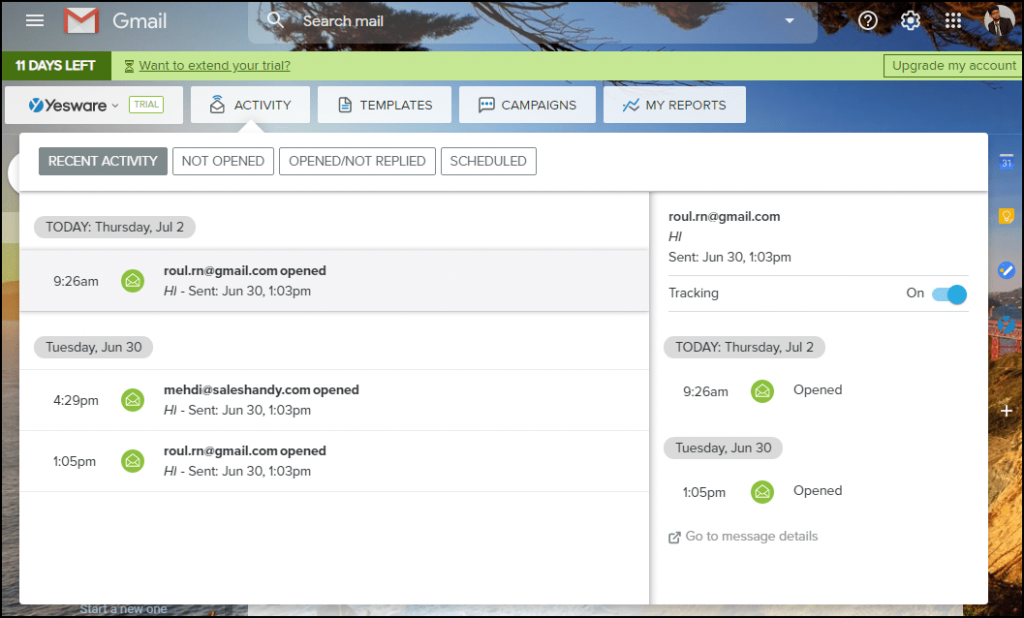 yesware user interface