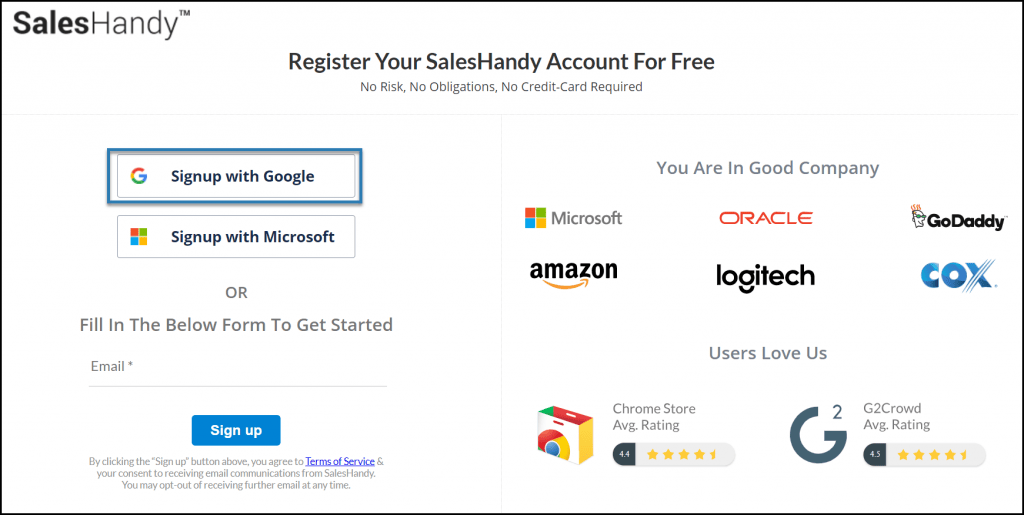 signup with saleshandy to send newsletters