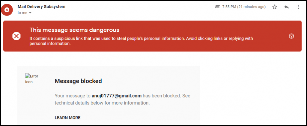 email delivery blocked due to low sender reputation