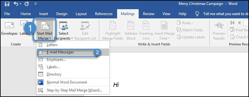 start email messages