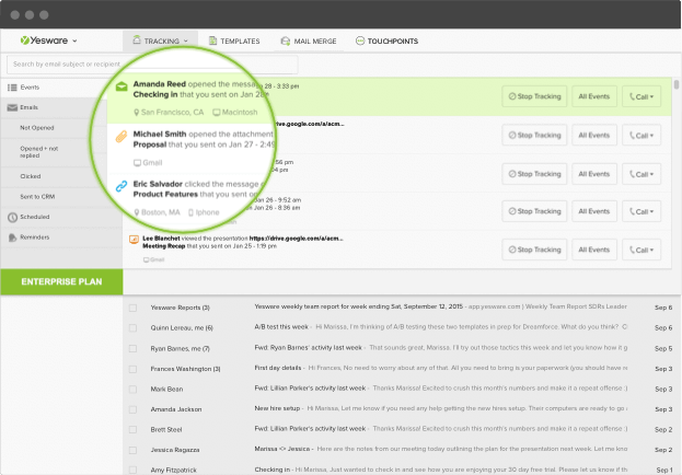 Yesware email tracking